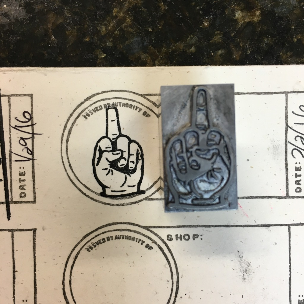 Middle finger cut from Gingerly Press - Landenberg, PA