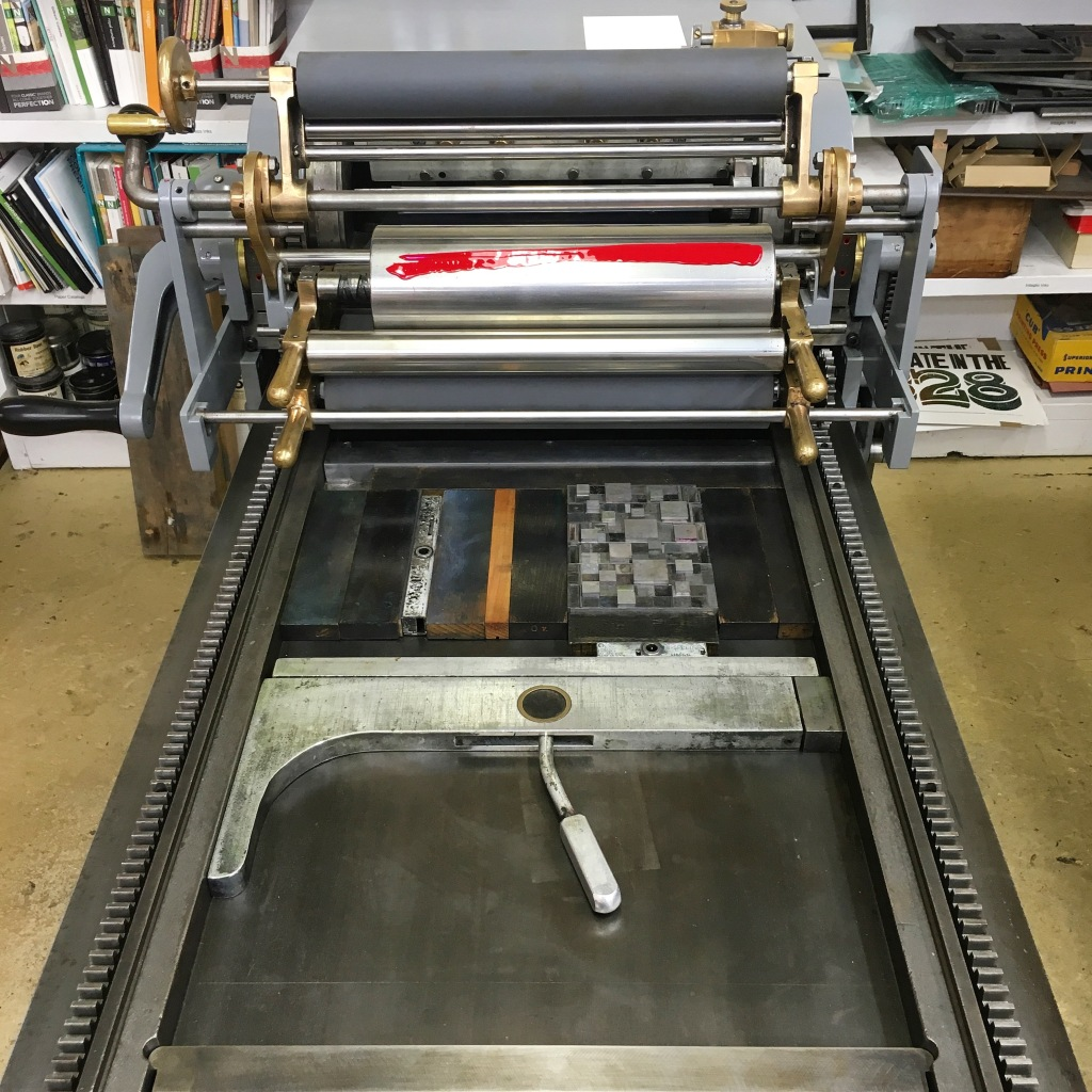 Postcard forme on the Vandercook 3 at Bookworks - Asheville, NC