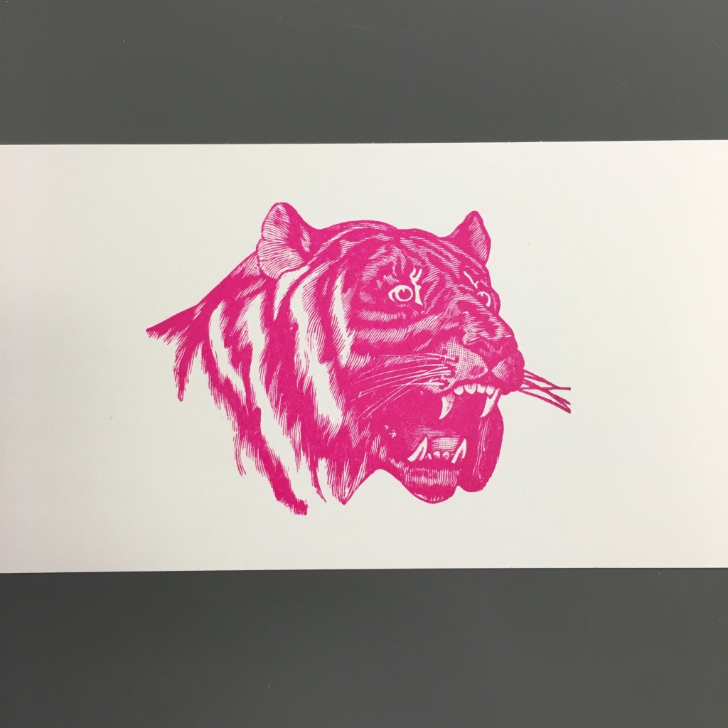 Postcard made using antique tiger cut at Bookworks - Asheville, NC