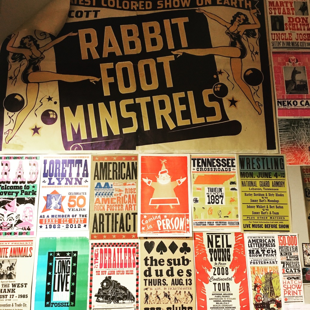 Wall full of shows posters at Hatch Show Print - Nashville, TN