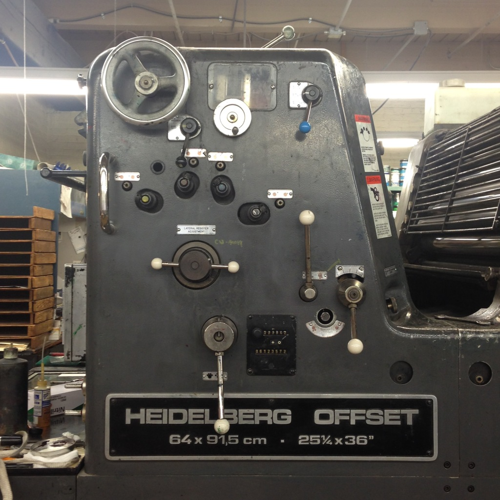 Heidelberg offset press at Gann Bros. Printing w/ over 80 million prints - Portland, OR