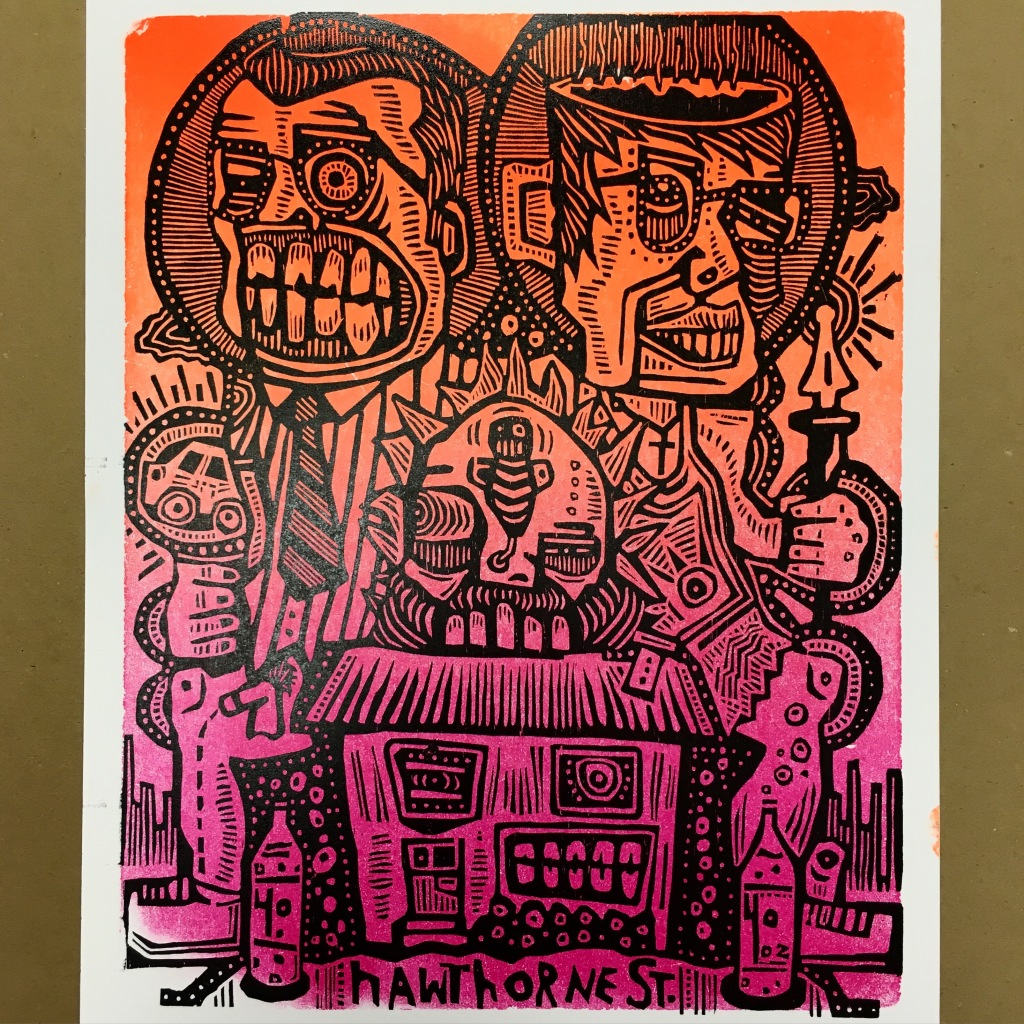 Collaborative poster at Hartford Art School w/ woodcut by Tim Tanker - Hartford, CT