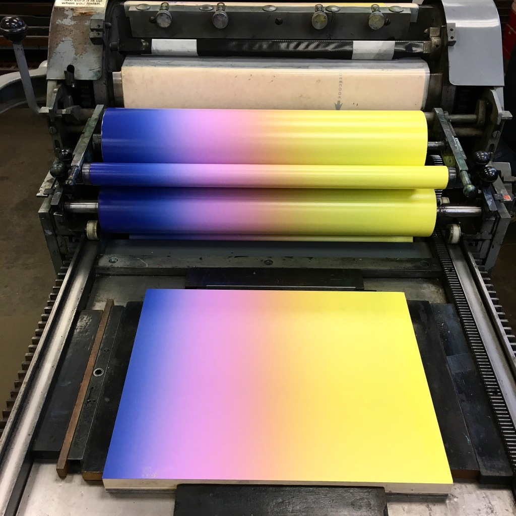 Rainbow roll on the Vancercook SP 20 at Hartford Art School - Hartford, CT