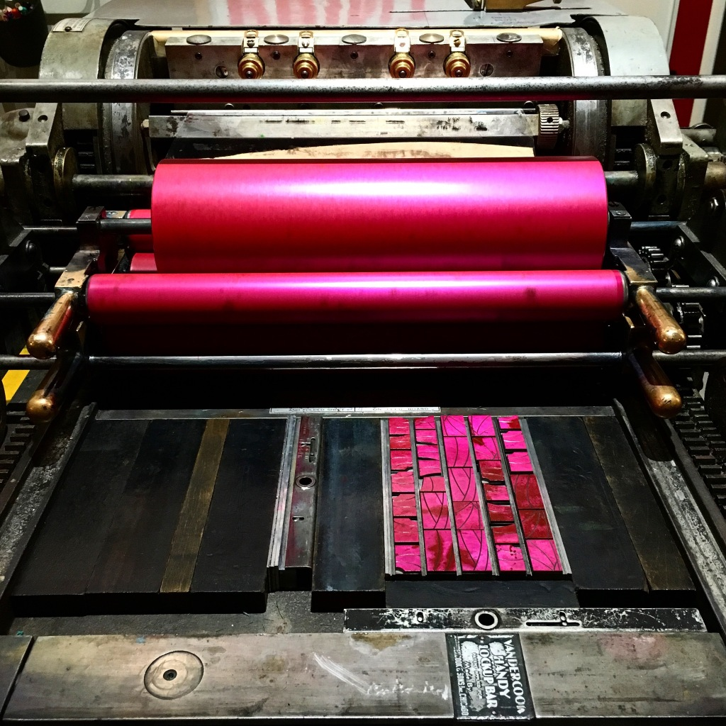 Postcard forme on the Vandercook 4 at Typecase Industries - Washington, DC