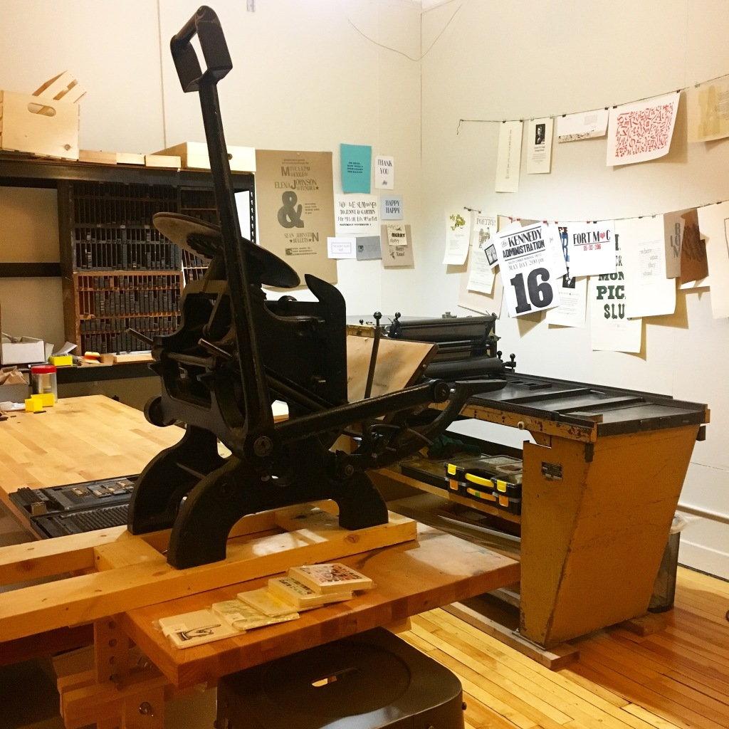 Studio shot featuring Challenge proof press and unusual C & P Pilot from Kidd Letterpress - Calgary, AB, Canada