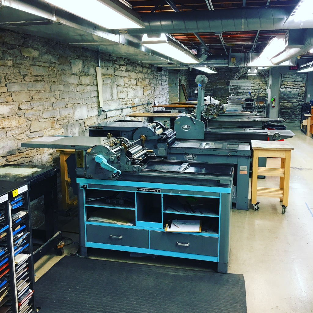 Row of Vandercook proofing presses in the print shop at the Minnesota Center for Book Arts - Minneapolis, MN