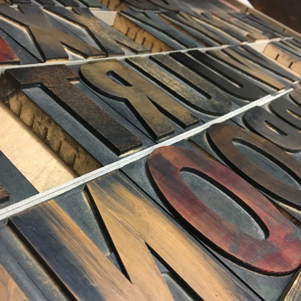 Gothic wood type at the Minnesota Center for Book Arts - Minneapolis, MN
